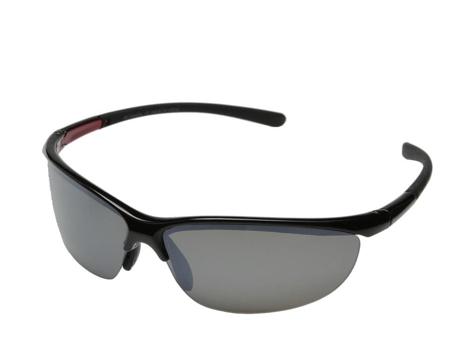 Columbia - 602 (Shiny Black/Grey Flash Polarized) Sport Sunglasses