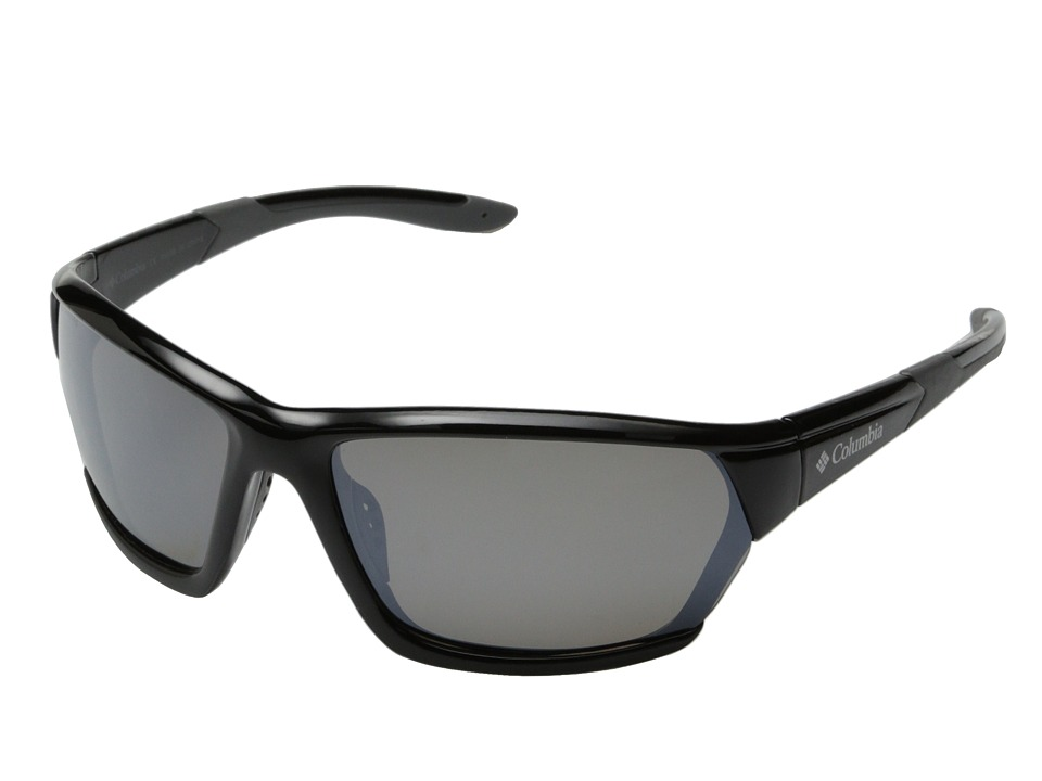 Columbia - 302 (Shiny Black/Grey Flash Polarized) Sport Sunglasses