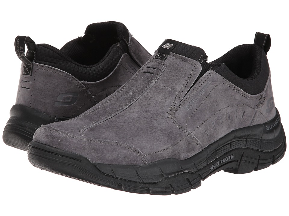 SKECHERS - Rig Mountain Top (Charcoal/Black) Men's Slip on Shoes