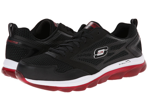 SKECHERS - Skech-Air (Black/Red) Men's Lace up casual Shoes