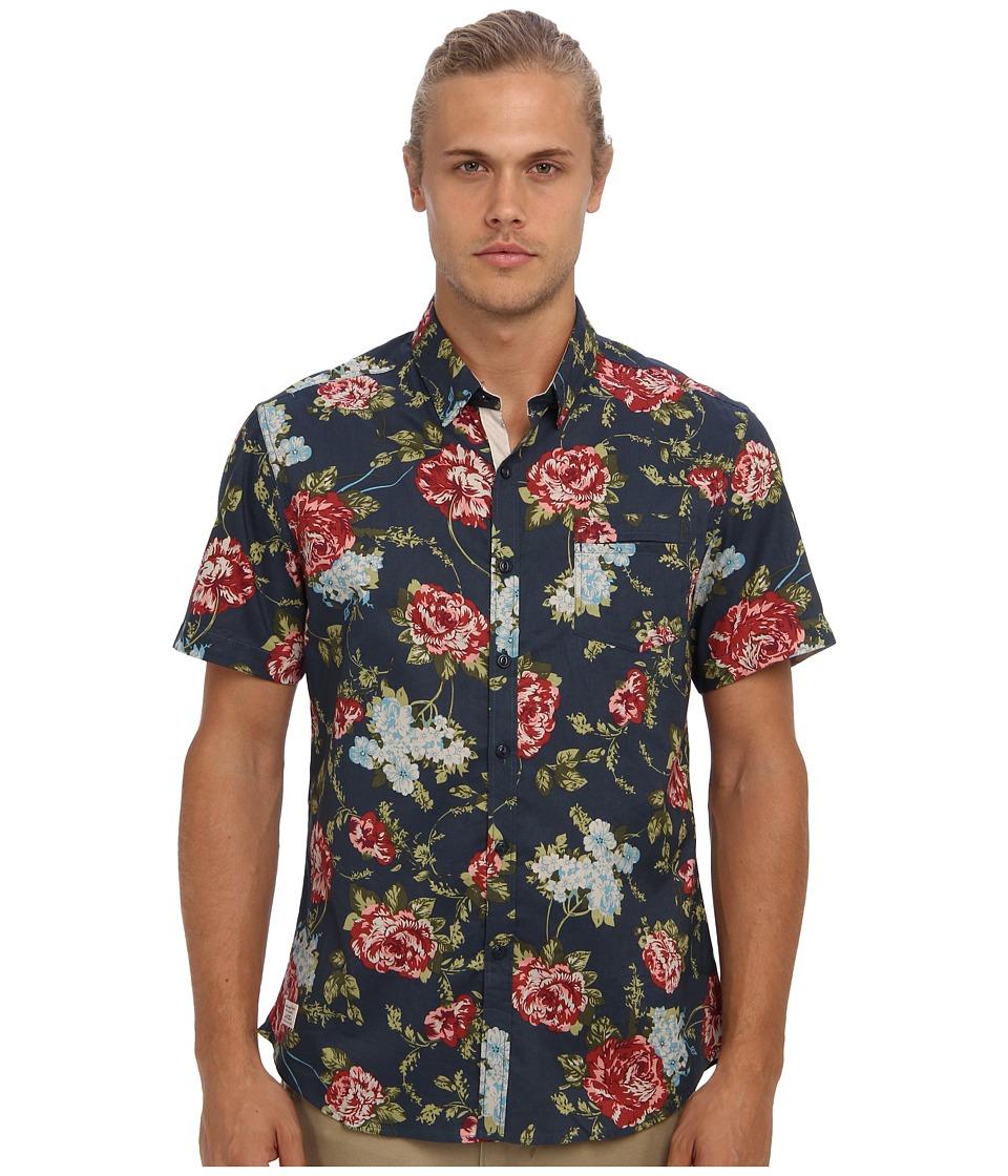 7 Diamonds - Paradise Circus S/S Shirt (Slate Blue) Men's Short Sleeve Button Up