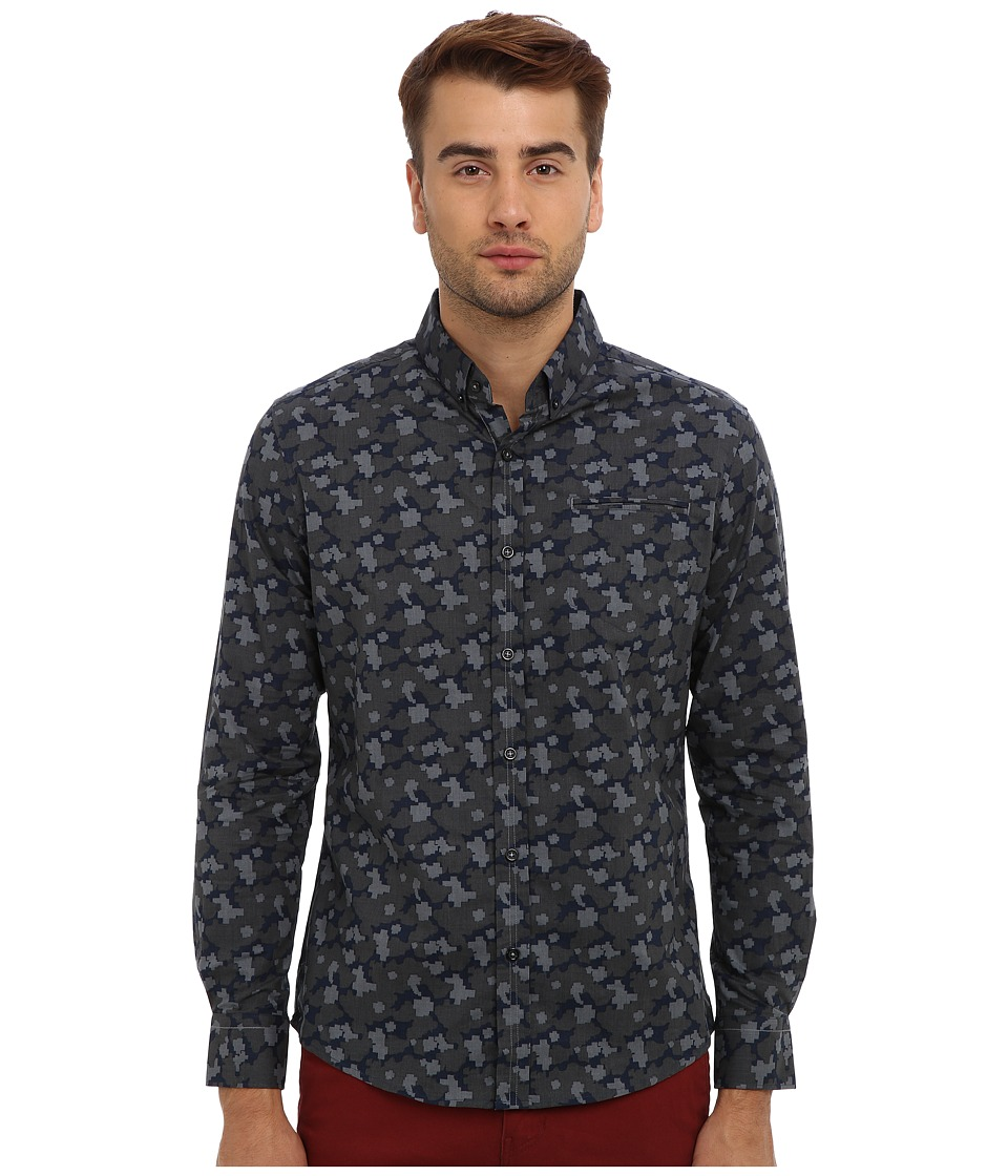 7 Diamonds - Instant Mementos L/S Shirt (Navy) Men's Long Sleeve Button Up