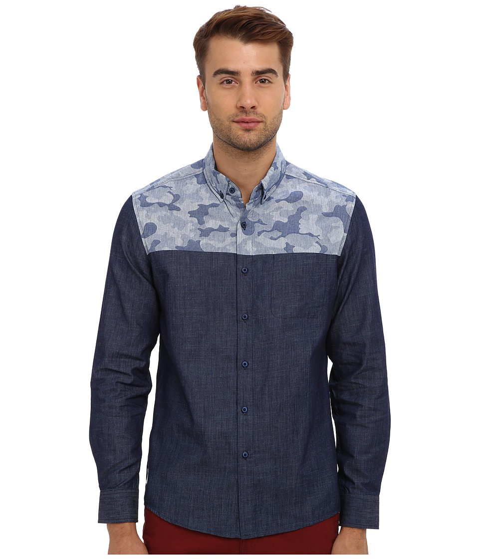 7 Diamonds - Brave L/S Shirt (Navy) Men's Long Sleeve Button Up