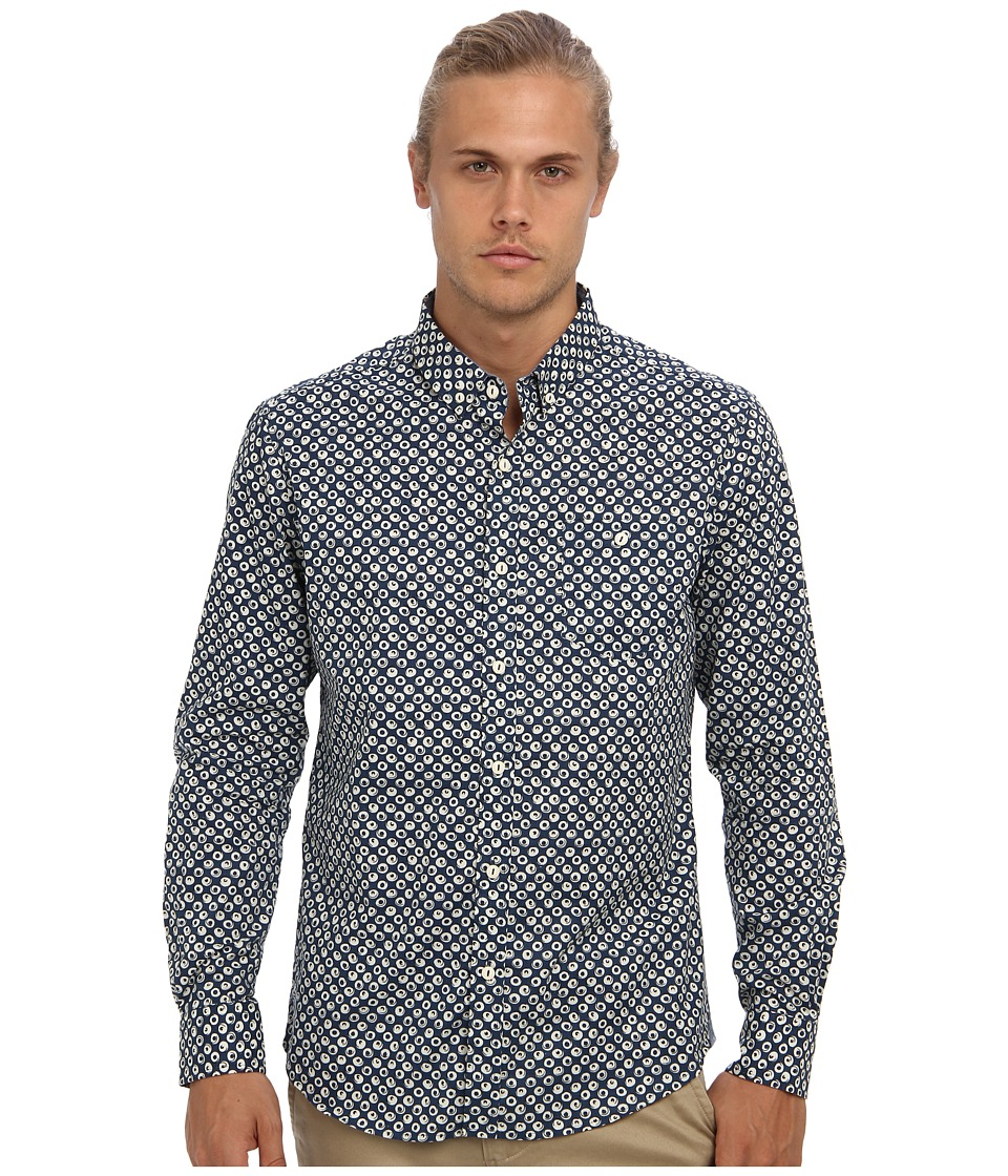 7 Diamonds - Night Patrol L/S Shirt (Navy) Men's Long Sleeve Button Up