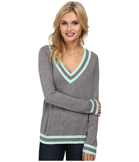 C&C California - Cashmere Blend V-Neck Tipped Sweater (Light Heather Grey) Women