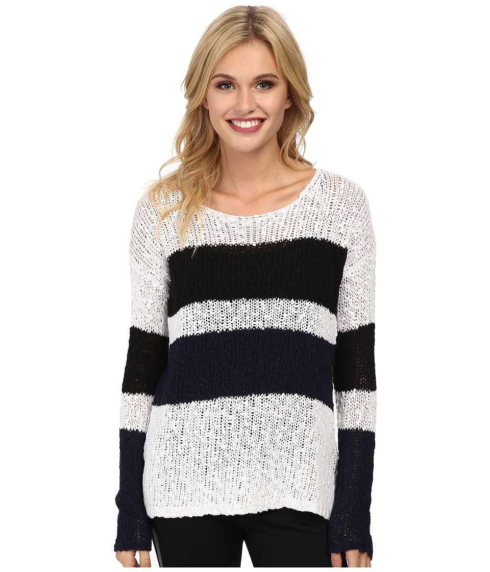 C&C California - Stripe Cotton Tape Sweater (White) Women's Sweater