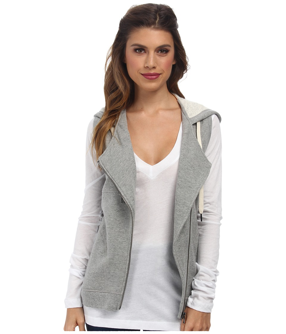C&C California - Loopy French Terry Asymmetrical Zip Hoodie Vest (Heather Gray) Women's Vest