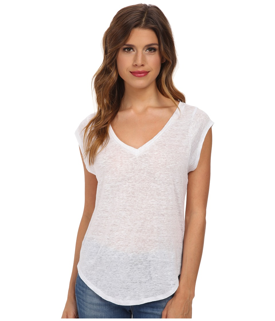 C&C California - Linen Jersey Muscle Tee (White) Women's T Shirt