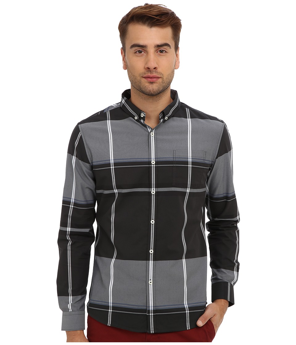 7 Diamonds - Ashford L/S Shirt (Charcoal) Men's Long Sleeve Button Up