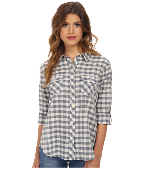 C&C California - Two-Pocket Gingham Shirt (Dutch Blue) Women's Long Sleeve Button Up