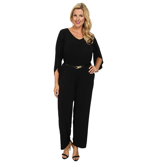 Calvin Klein Plus - Plus Size Batwing Jumpsuit (Black) Women's Jumpsuit & Rompers One Piece