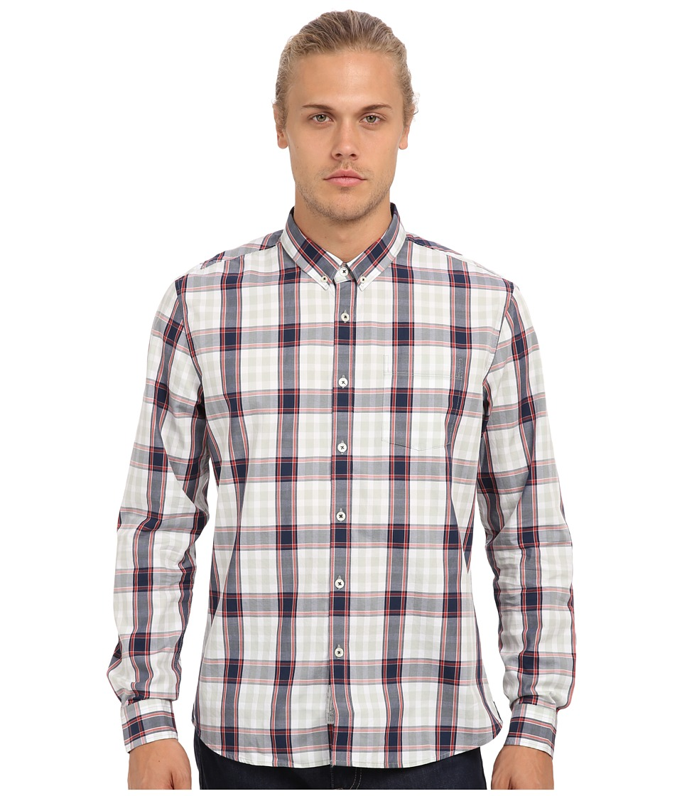 7 Diamonds - Rocky Steady L/S Shirt (Navy) Men's Long Sleeve Button Up