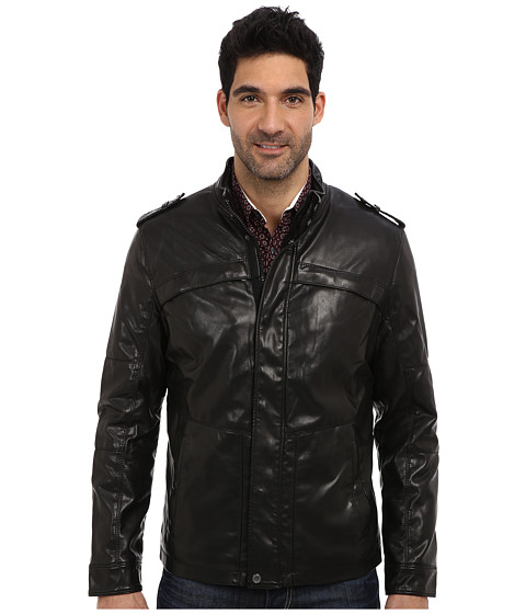 Perry Ellis - Faux Leather Four-Pocket Jacket (Black) Men