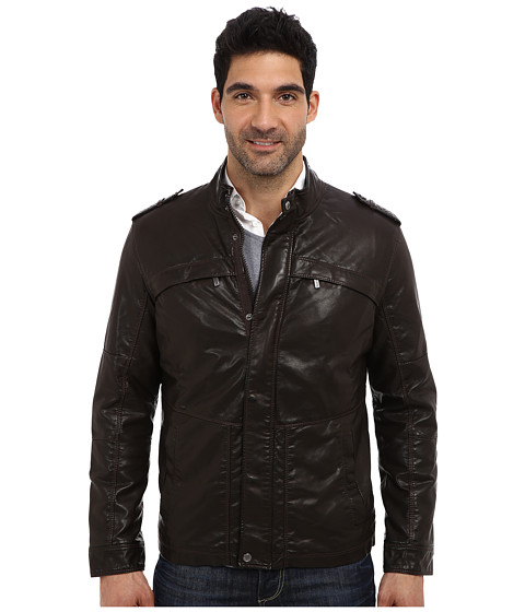 Perry Ellis - Faux Leather Four-Pocket Jacket (Dark Brown) Men
