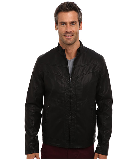 Perry Ellis - Faux Leather Textured Bomber Jacket (Black) Men