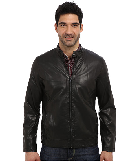 Perry Ellis - Faux Leather Zip Front Jacket (Black) Men's Coat