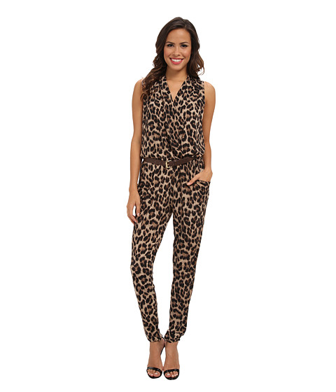 MICHAEL Michael Kors - S/S Printed Belt Jumpsuit (Dark Camel) Women