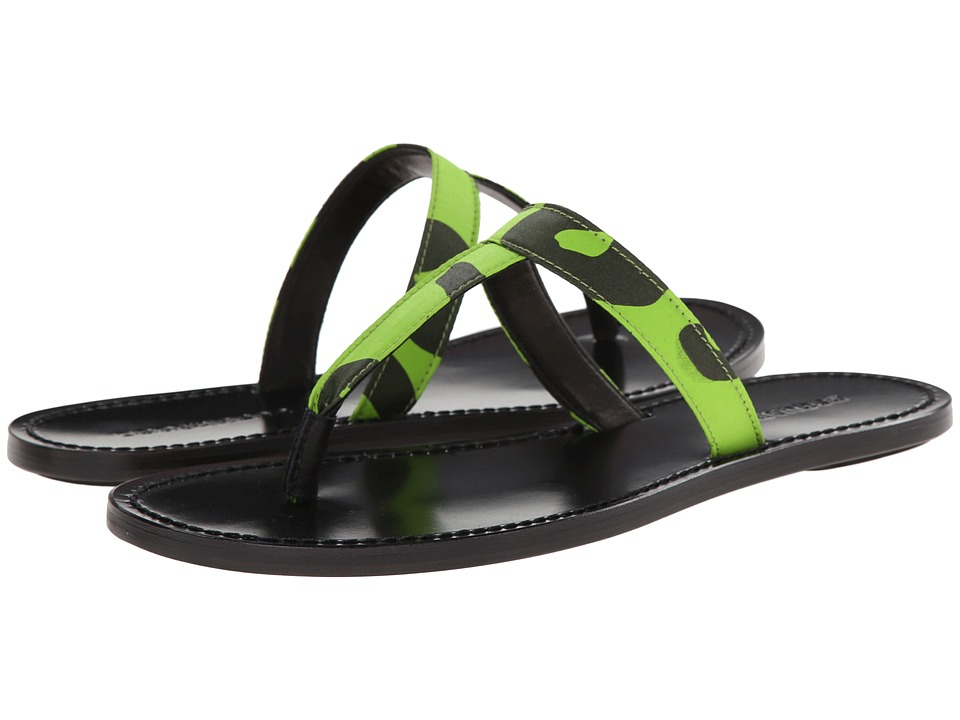 DSQUARED2 - Contrast Printed T-Bar Sandal (Fluorescent Green) Men's Sandals