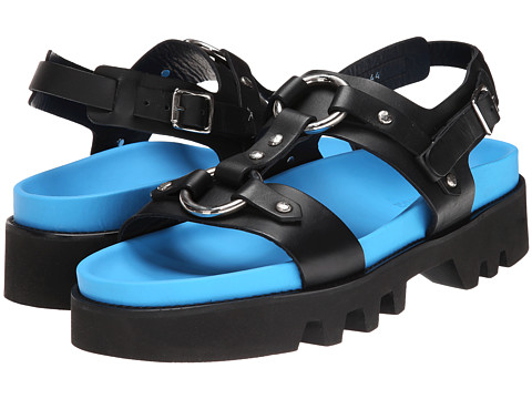 DSQUARED2 - Moses Creeper Sandal (Black/Fluorescent Blue) Men