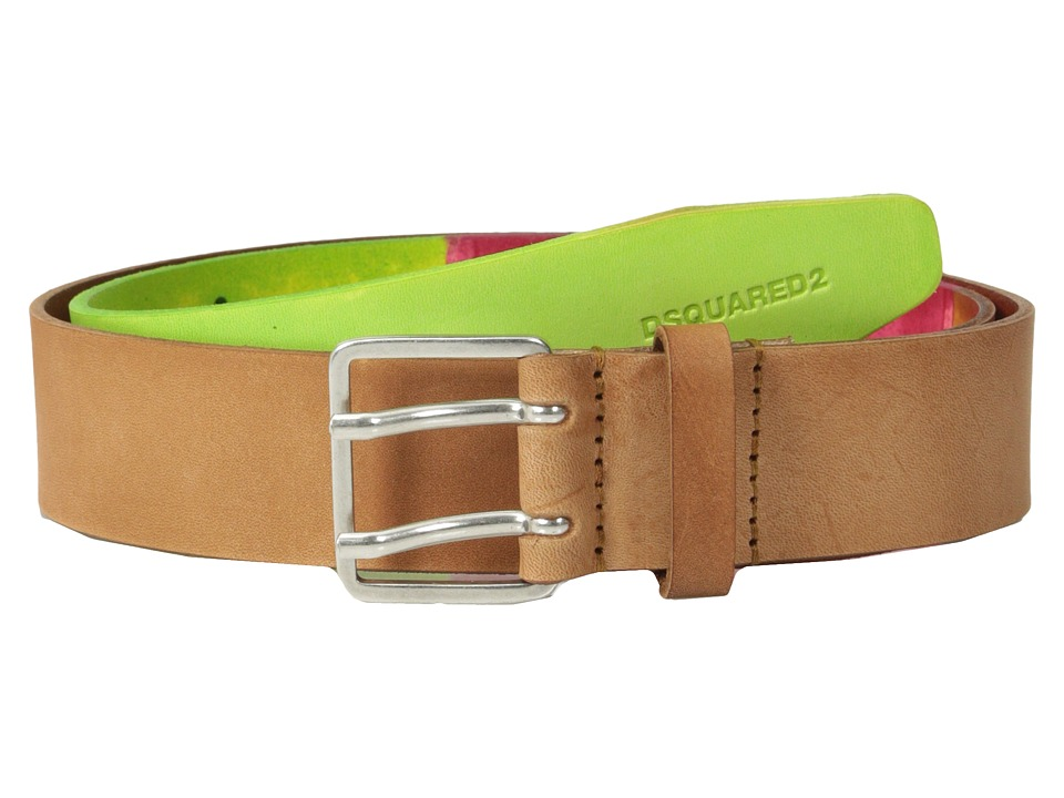 DSQUARED2 - Saturated Color Belt (Green/Fuchsia) Men's Belts