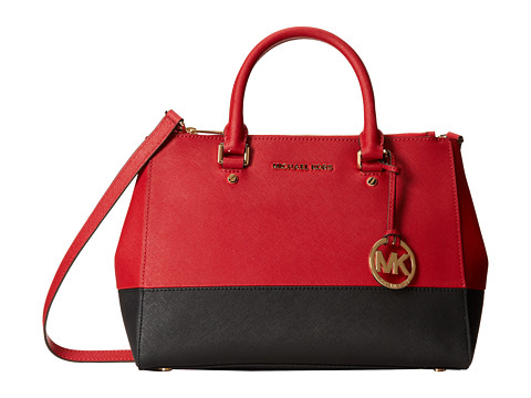 MICHAEL Michael Kors - Sutton Medium Satchel (Dark Red/Black) Satchel Handbags