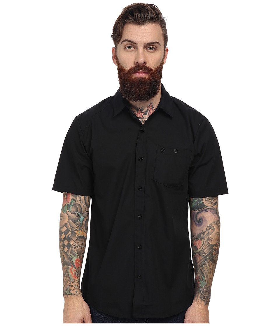 Volcom - Everett Solid S/S (Black) Men's Short Sleeve Button Up