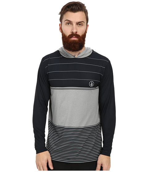 Volcom - Sub Stripe L/S Rashguard (Cement Grey) Men's Swimwear