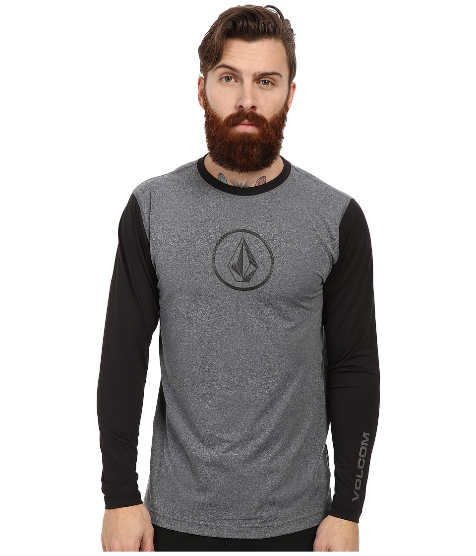 Volcom - Heather Long Sleeve Rashguard (Black) Men's Swimwear