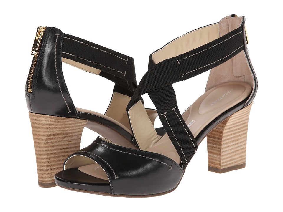 Rockport - Seven to 7 75mm Cross Strap Sandal (Black Burn Calf) High Heels