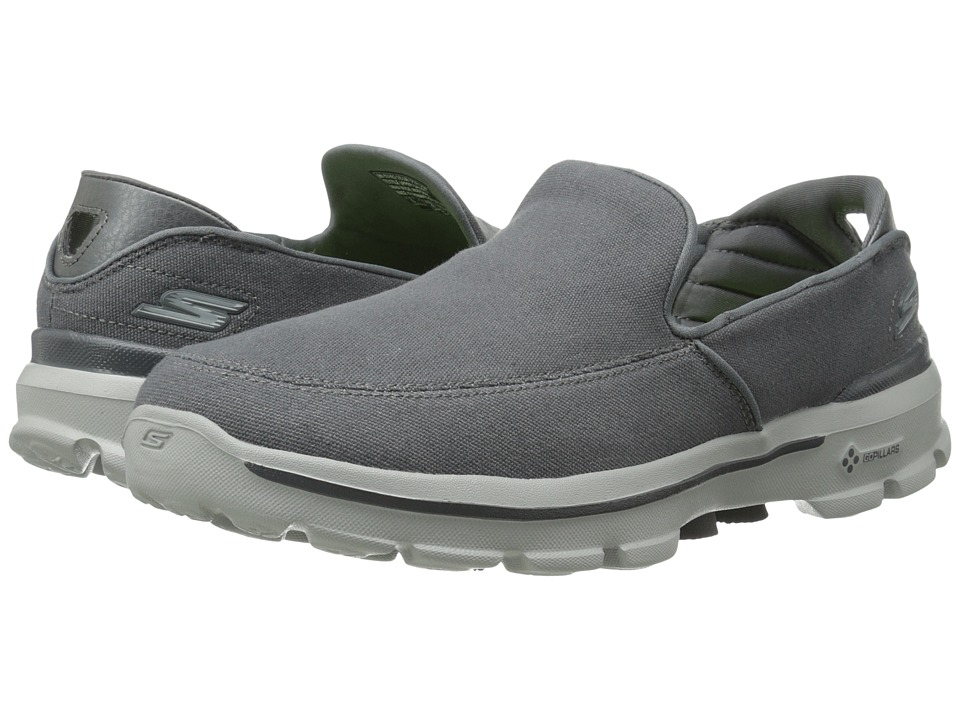 SKECHERS Performance - Go Walk 3 (Charcoal) Men's Slip on Shoes