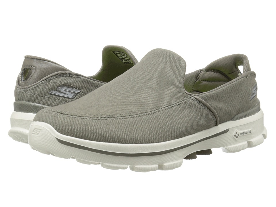 SKECHERS Performance - Go Walk 3 (Khaki) Men's Slip on Shoes