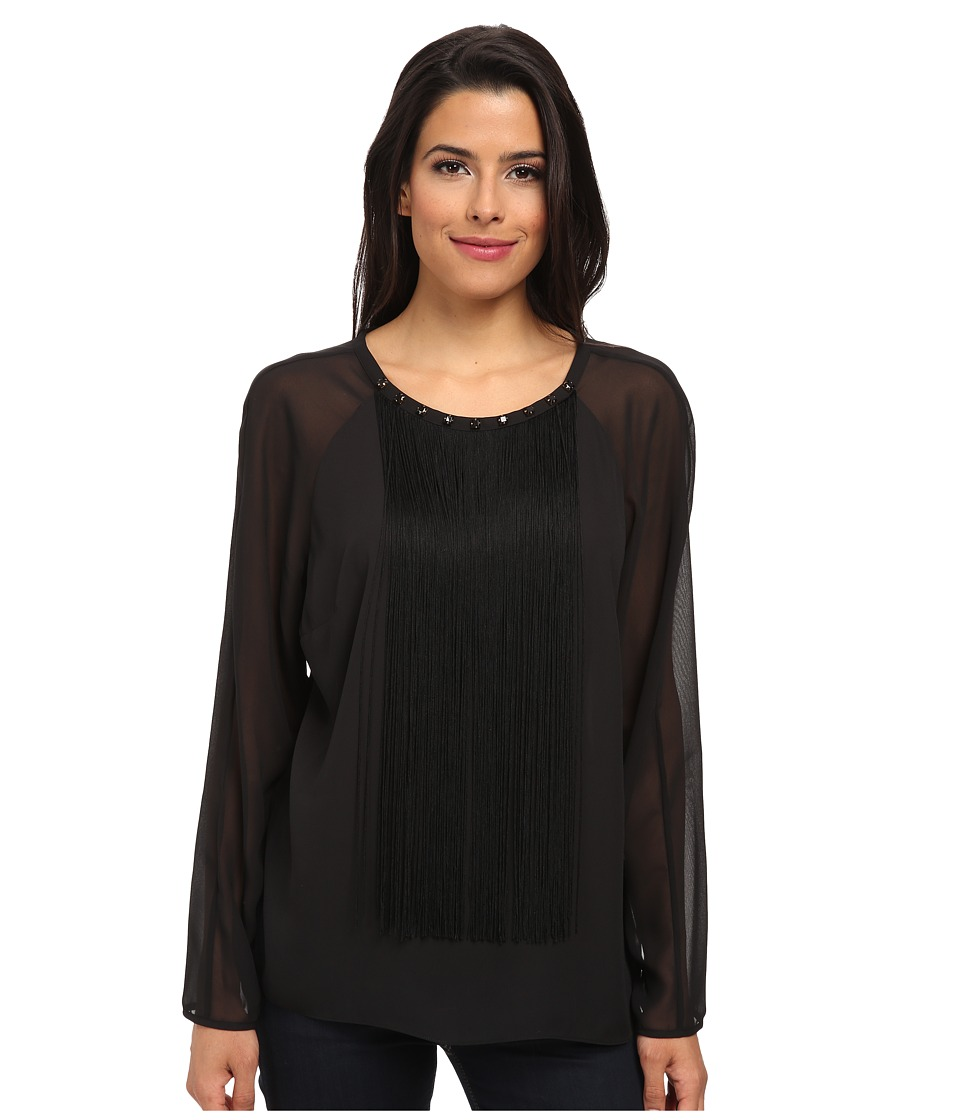 Vince Camuto - Long Sleeve Blouse w/ Front Fringe and Errb (Rich Black) Women