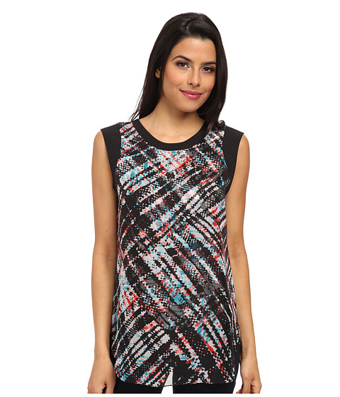 Vince Camuto - Short Sleeve Ultra Plaid Blouse w/ Overlay (Rich Black) Women's Sleeveless