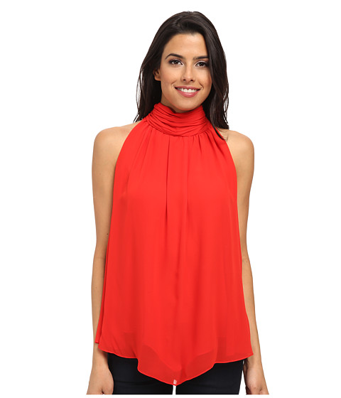 Vince Camuto - Ruched Front Short Sleeve Mock Neck Blouse (Cherry) Women