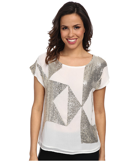 Vince Camuto - Geometric Sequin Embellished Blouse (New Ivory) Women's Blouse