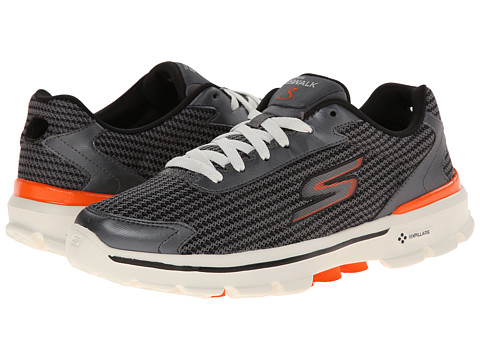 SKECHERS Performance - Go Walk 3 - Fit Knit (Charcoal/Orange) Men's Lace up casual Shoes