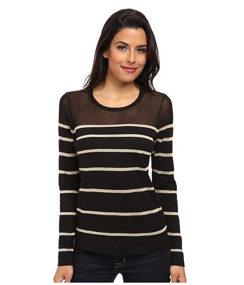 Vince Camuto - Long Sleeve Crew Neck Engineered Striped Sweater (Rich Black) Women's Long Sleeve Pullover