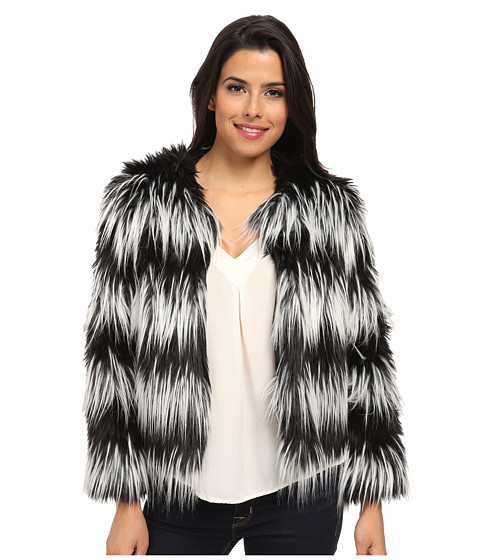 Vince Camuto - Collarless Striped Faux Fur Jacket (Rich Black) Women's Coat