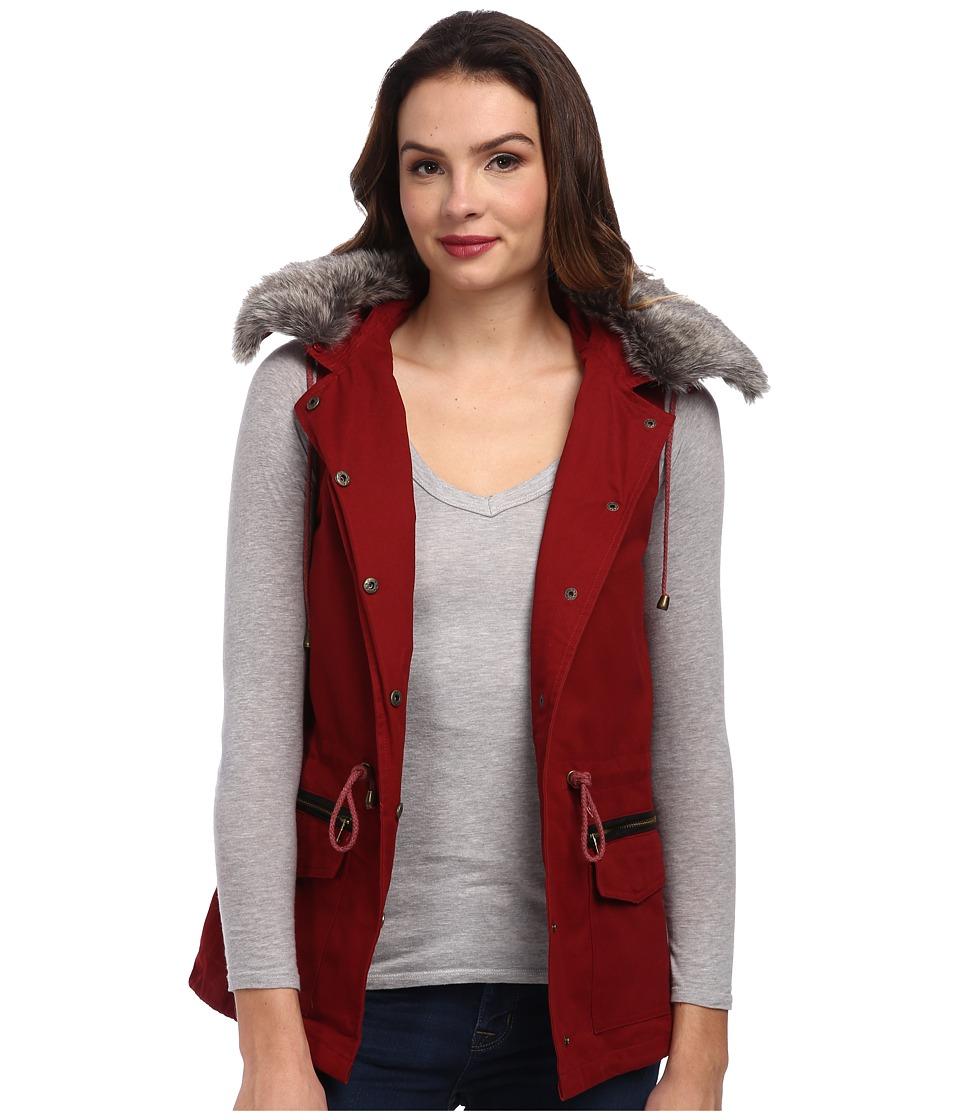 DOUBLE ZERO - Cinched Fur Vest (Burgundy) Women's Vest
