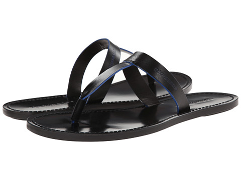 DSQUARED2 - Contrast T-Bar Sandal (Black/Blue) Men's Sandals