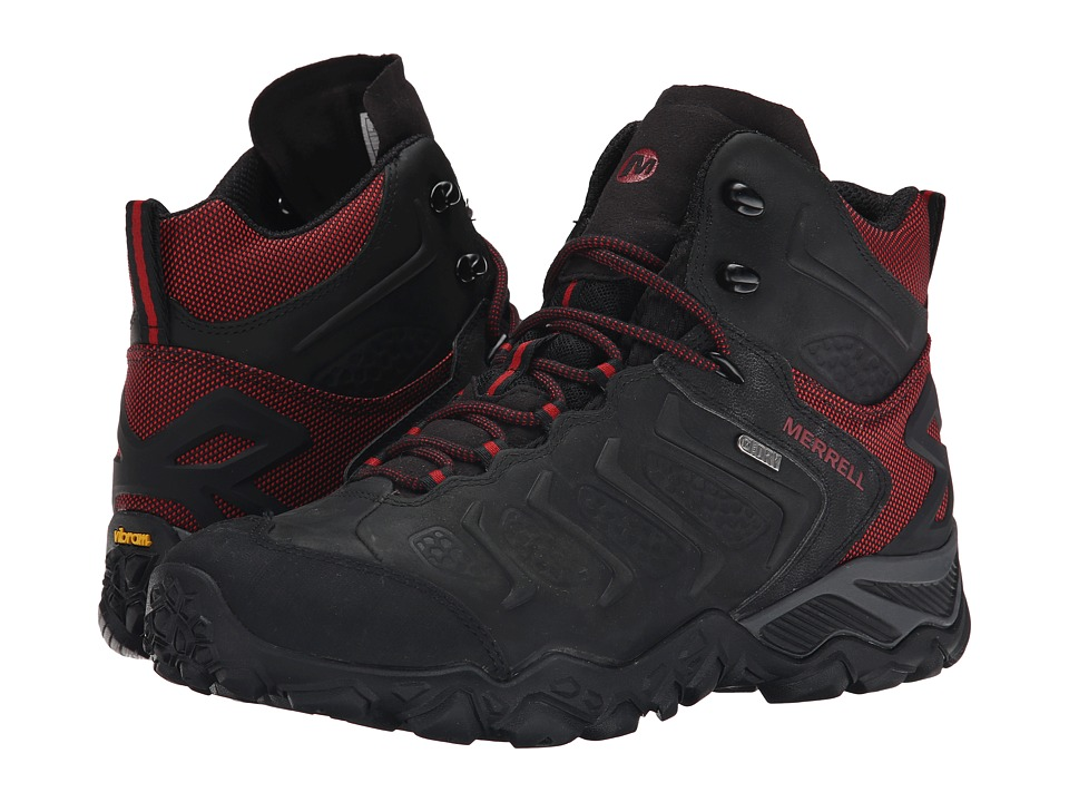 Merrell - Chameleon Shift Mid Waterproof (Black/Red) Men's Hiking Boots