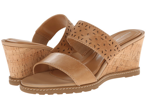 Rockport - Garden Court Perf Slide (Burnish Nude Perf Calf) Women
