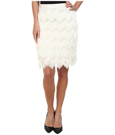 Vince Camuto - Pencil Skirt w/ Herringbone Tiered Fringe (Vanilla) Women