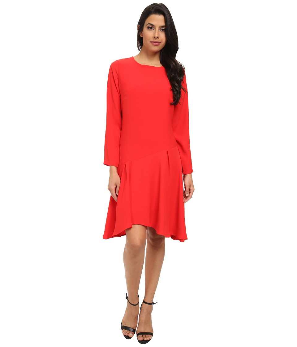 Vince Camuto Long Sleeve Dress w/ Asymmetrical (Cherry) Women
