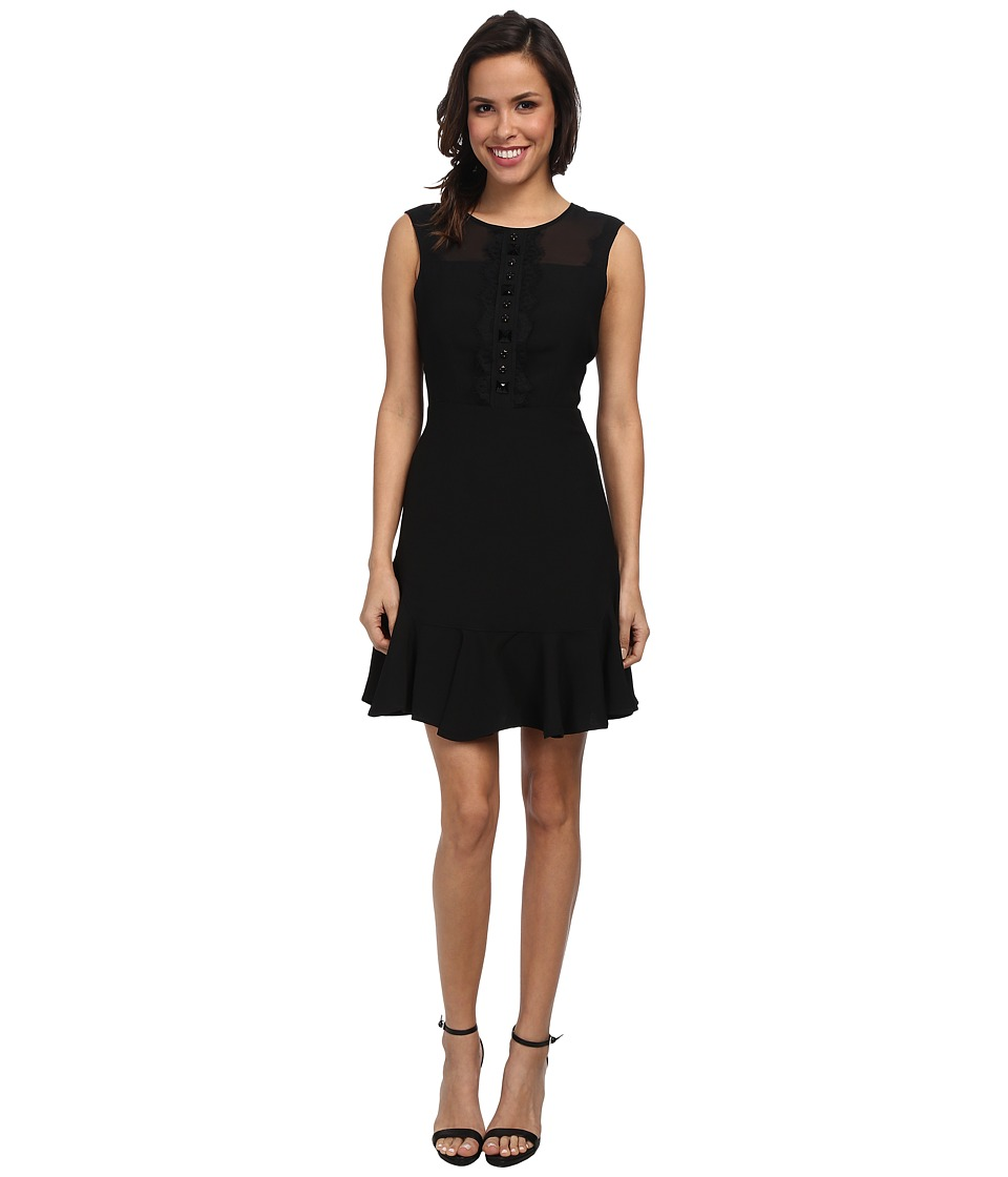 Vince Camuto - Short Sleeve Dress w/ Sheer Lace Errb Trim (Rich Black) Women's Dress