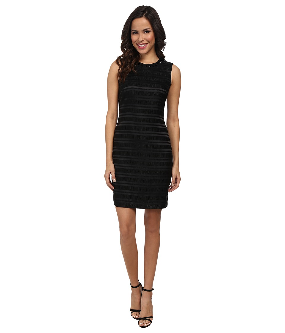 Vince Camuto - Sleeveless Fortuny Pleat Dress w/ Neck Embellishments (Rich Black) Women's Dress