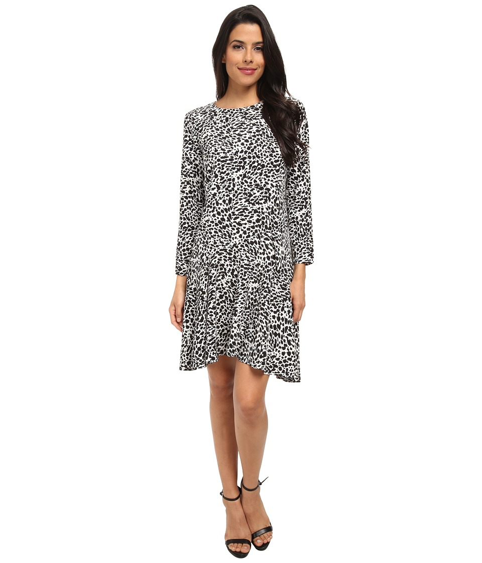 Vince Camuto - Animal Flurry Long Sleeve Dress w/ Asymmetrical Flounce (Rich Black) Women's Dress