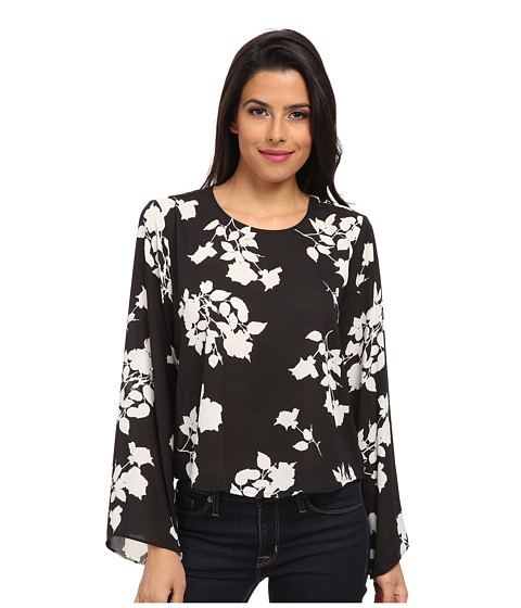 Vince Camuto - Shadow Bouquet Bell Sleeve Blouse (Rich Black) Women's Blouse