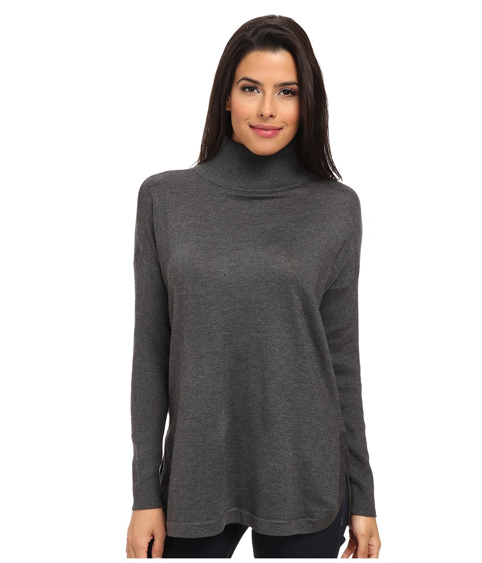 Vince Camuto - Long Sleeve Oversized Turtleneck Sweater (Medium Heather Grey) Women
