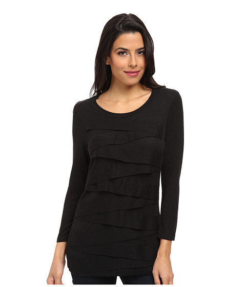Vince Camuto - 3/4 Sleeve Zig Zag Sweater (Rich Black 2) Women
